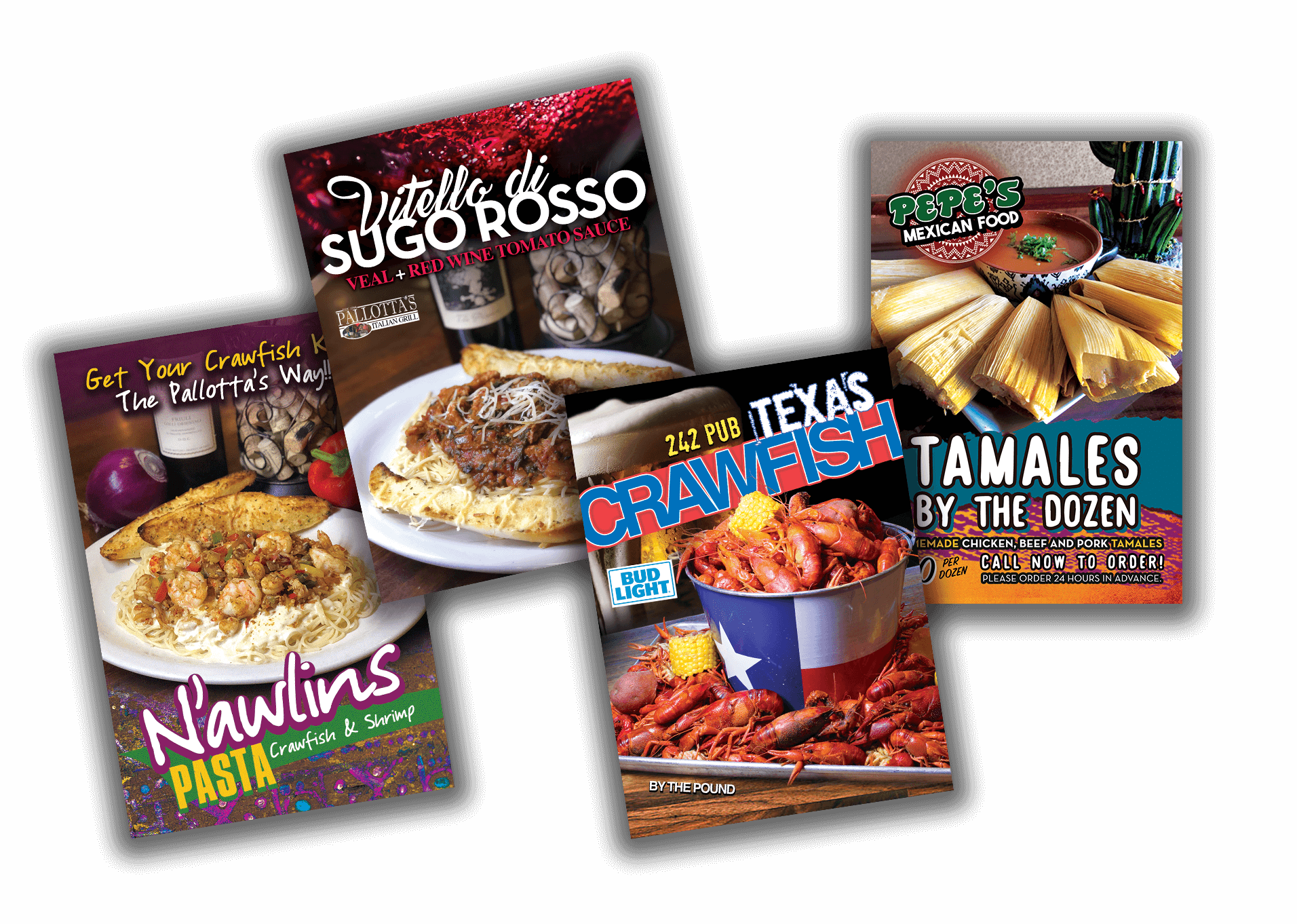 local restaurant printed monthly promotional posters, flyers, and table tents