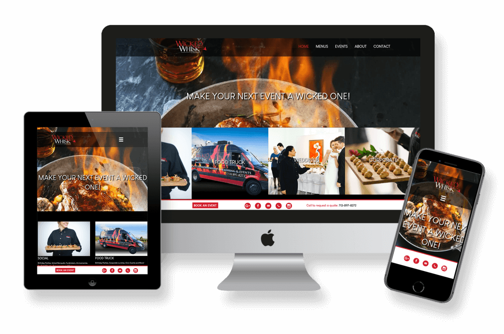 catering company website design, website management, logo design, and online marketing and advertising