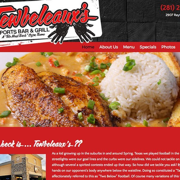 Web Design | Spring, TX<br /> Tewbeleaux's Sports Bar & Grill